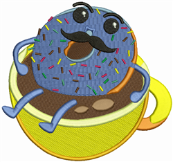 Coffee And Doughnut embroidery design