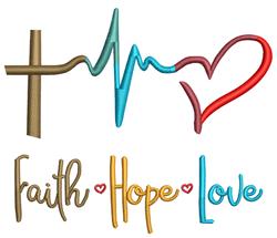 Faith Love and Hope embroidery design