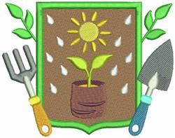 Gardening Crest embroidery design