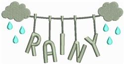 Rainy Clothesline embroidery design