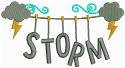 Storm Clothesline embroidery design