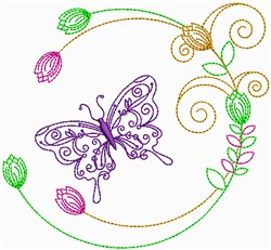 Floral Butterfly Outline embroidery design