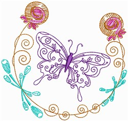 Colorful Butterfly Outline embroidery design