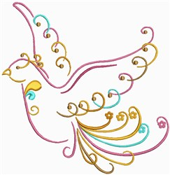 Swirly Floral Bird Outline embroidery design