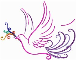 Swirly Love Bird Outline embroidery design