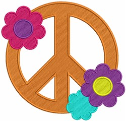 Peace Sign with Flowers embroidery design