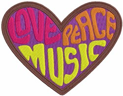 Love Peace & Music embroidery design