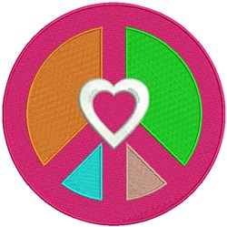 Peace Love Symbol embroidery design