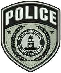 Police Service Badge embroidery design