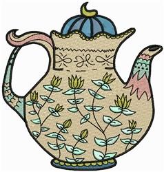 Flower Tea Pot embroidery design
