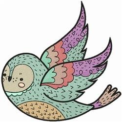 Decorated Bird embroidery design