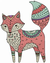 Decorated Fox embroidery design