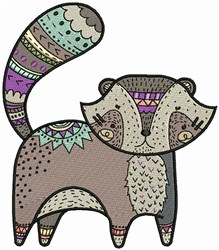 Decorated Raccoon embroidery design