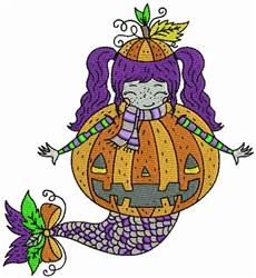 Halloween Mermaid & Pumpkin embroidery design