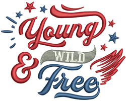 Young Wild & Free embroidery design
