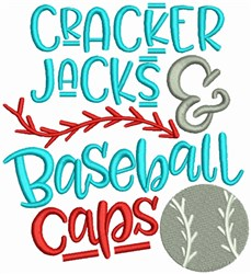 Cracker Jacks and Baseball Cap embroidery design
