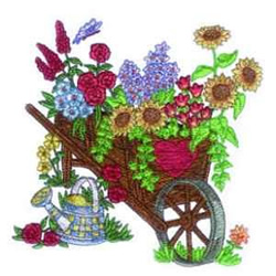 Floral Wheelbarrow embroidery design