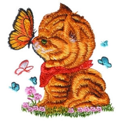 Kitten & Butterfly embroidery design