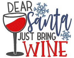 Santa Bring Wine embroidery design