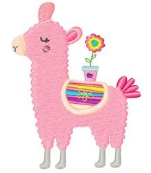 Pink Springtime Llama embroidery design