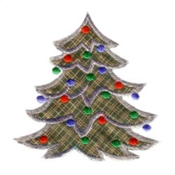 Applique Christmas Tree with baubles embroidery design