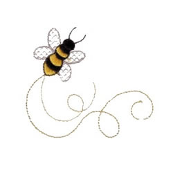 Swirlin Bee embroidery design