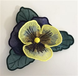 3D Organza Pansy embroidery design