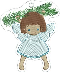 ITH Angel Hanging from Branch Felt Ornament embroidery design