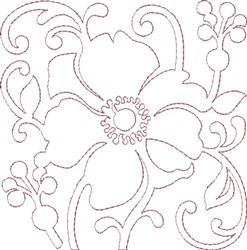 Anemone Single Run Quilting J embroidery design