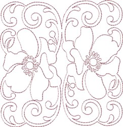 Anemone Single Run Quilting L embroidery design