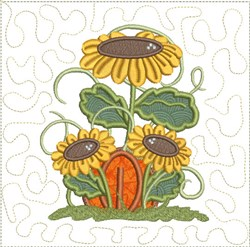 Autumn Pumpkin & Sunflowers Applique embroidery design