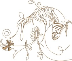 Fantasy Arabian With Flowers embroidery design
