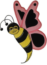 Pink Butter Bee embroidery design