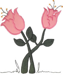 Pink Tulips Applique embroidery design