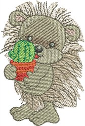 Hedgehog with Cactus embroidery design