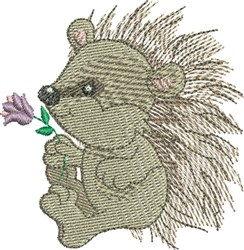 Hedgehog With Flower embroidery design