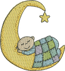 Baby Boy on Moon embroidery design