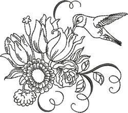 Blackwork Tulips & Hummingbird embroidery design