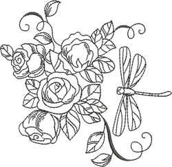 Blackwork Rose Dragonfly embroidery design