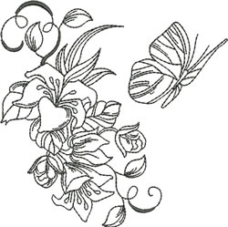 Blackwork Lilies & Butterfly embroidery design