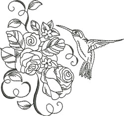 Blackwork Rose Hummingbird embroidery design