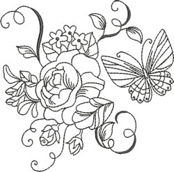 Blackwork Roses & Butterfly embroidery design