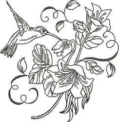 Blackwork Lily Hummingbird embroidery design