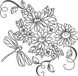 Blackwork Daisy Dragonfly embroidery design
