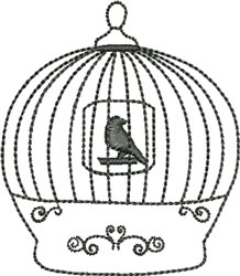 Backstitched Birdcage embroidery design