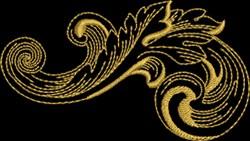 Metallic Baroque Feather embroidery design