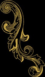 Metallic Gold Baroque Florish embroidery design