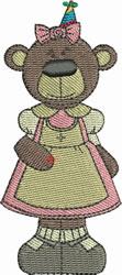 Birthday Girl Bear embroidery design