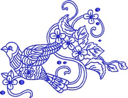 Bluework Paisley Bird embroidery design