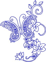 Bluework Paisley Butterfly embroidery design